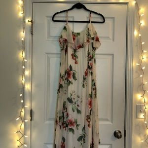 Floral Cold-shoulder Maxi Dress